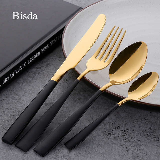 4 PCS dinnerware set black luxury stainless steel gold cutlery set ...