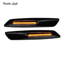 2Pcs LED Dynamic Flowing Side Marker light Cars Turn Signal Amber lights for BMW 3series E92 E93 E90 E91 5series E60 E61