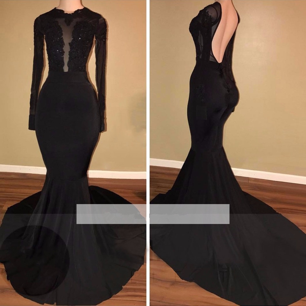 Black 2019 Prom Dresses Mermaid Long Sleeves Lace Beaded Backless Party Maxys Long Prom Gown Evening