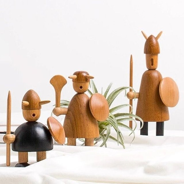 Us 5039 3 Types Wooden Vikings Figurine Miniature Teakwood Doll Statue Puppet Crafts Home Office Desktop Decoration Kids Toy Gifts In Figurines