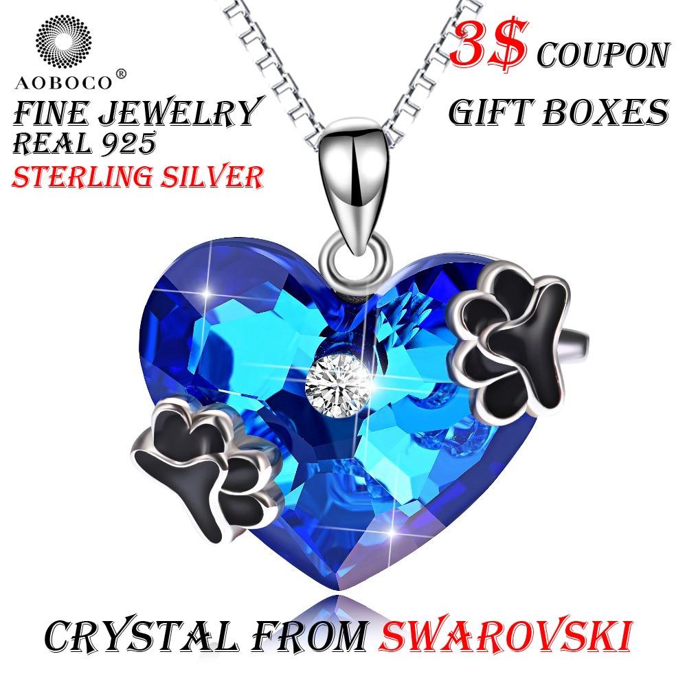 AOBOCO большой голубое сердце милая собака Лапа любовь подвески ожерелья для мужчин кристалл от Swarovski для женщин Девушка колье ювел