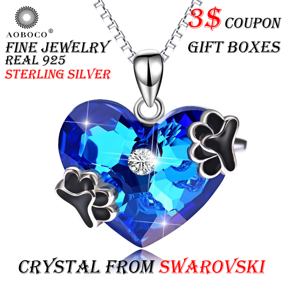 AOBOCO Big Blue Heart Cute Dog Pet Paw Love Pendants Necklaces Crystal From Swarovski For Women Girl Choker Fine JewelryAOBOCO Big Blue Heart Cute Dog Pet Paw Love Pendants Necklaces Crystal From Swarovski For Women Girl Choker Fine Jewelry