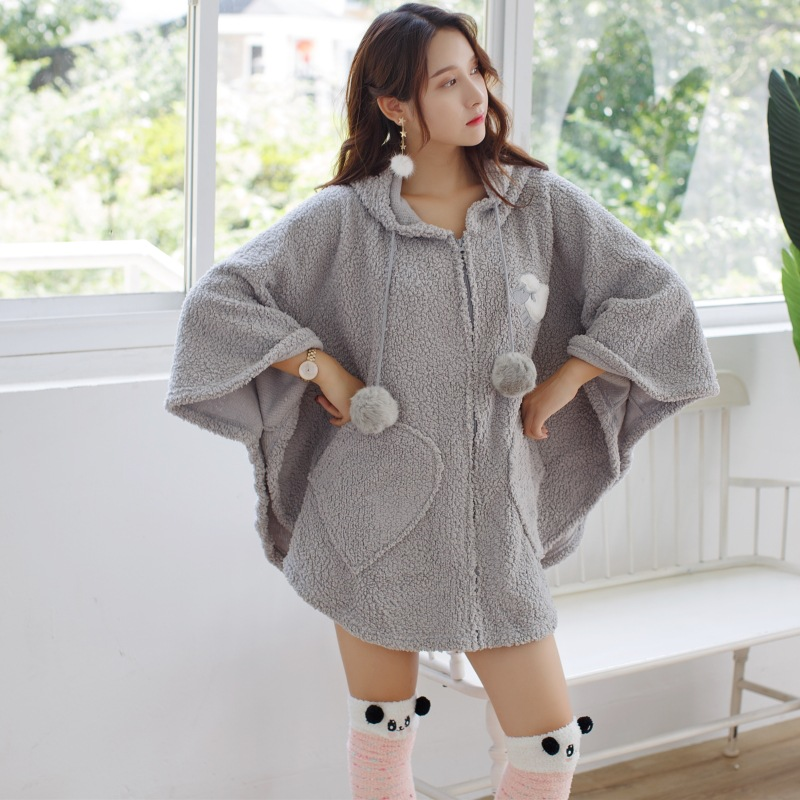 Autumn Flannel Plush Hooded Women's Cape Bathgown Thick Warm Shawls Home Clothes 2019 Winter Home Clothes Female With Socks Gray