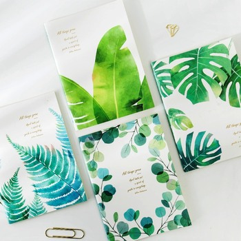Green Leaves ver.2 Pack of 4 Exercise Book Lined Papers Study Business Notebook Big Size Composition Diary