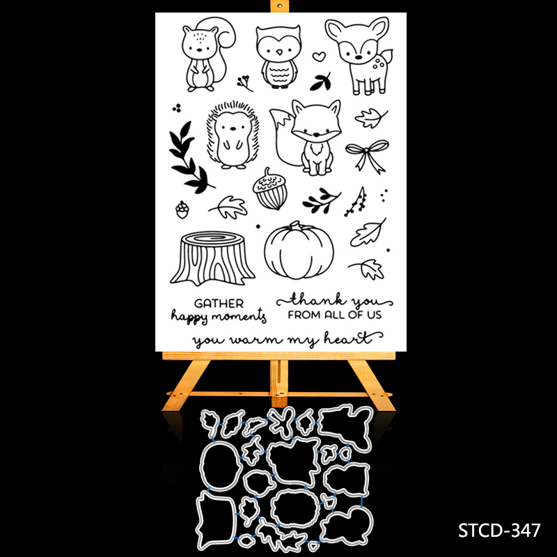 AZSG Cute little animal Cutting Dies and Clear stamp Set for DIY Scrapbooking Photo Album Decoretive Embossing Stencial