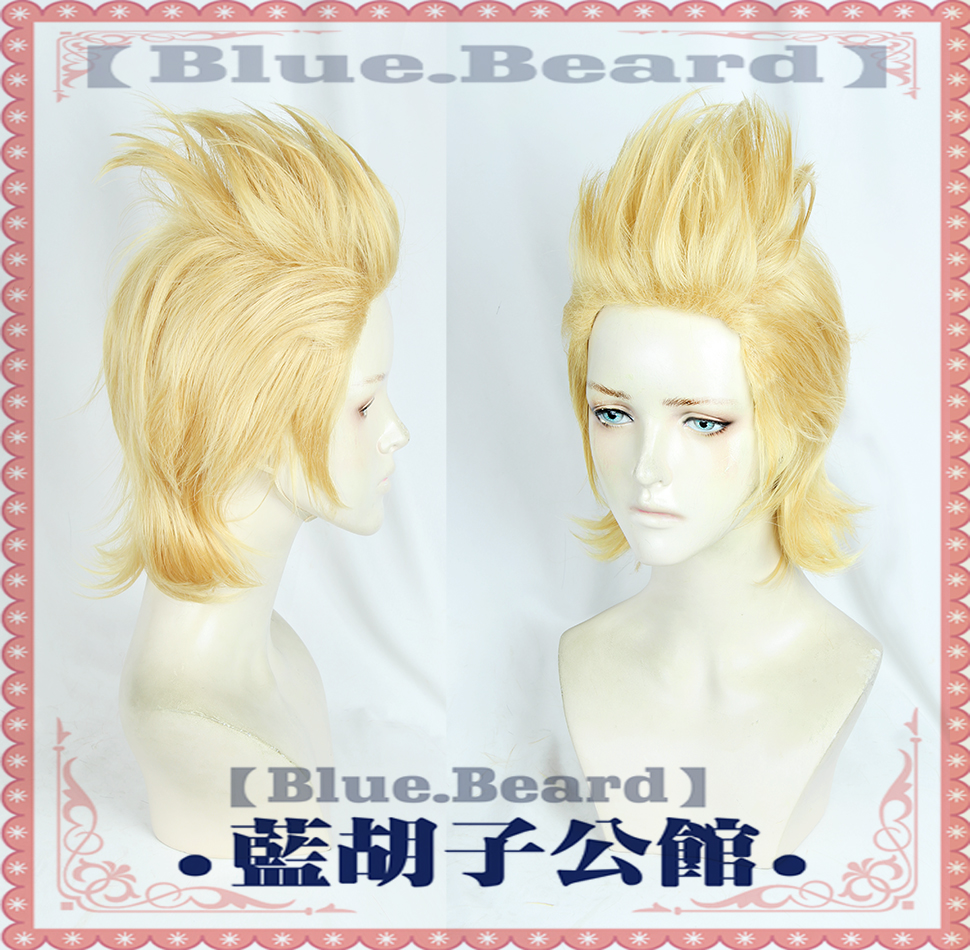 Anime High Qualtiy <font><b>Mirio</b></font> Toogata Golden Short <font><b>Cosplay</b></font> Boku no Academia <font><b>Cosplay</b></font> Wigs Role Play My Hero Academia Hair + Wig Cap image
