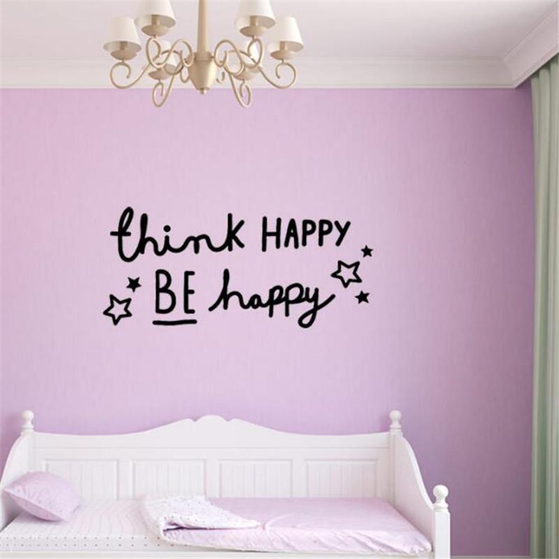 IDFIAF Think happy English Proverbs home decor PVC wall stickers ...