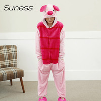 Suness New Adult Unisex Women Pajamas Sets Lovely Red Pig Animal Female Family Sleepwear Hoodie Sleepsuit