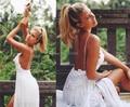 Простой богемия пляж свадебные платья кружева аппликация милая с бретельках рукавов сплит свадебные платья на