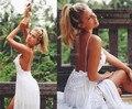 Sencilla Bohemia Beach Wedding Dresses Lace apliques de novia con correas espaguetis sin mangas de Split vestidos de novia personalizado