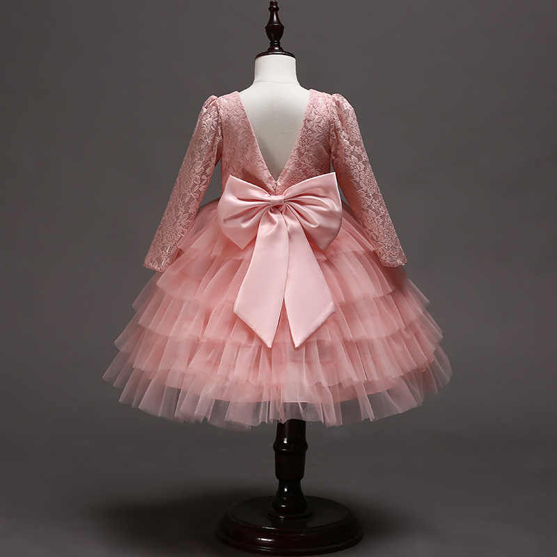 Рождественское платье для маленьких девочек; элегантные Детские Платья с цветочным кружевом и бантом для девочек; вечерние бальные платья принцессы с длинными рукавами; одежда для детей
