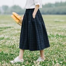 цена на Retro plaid pocket Elastic waist pocket loose  A-Line skirt mori girl 2018 spring