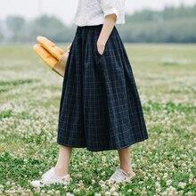 Lamtrip Retro plaid Elastic waist pocket loose A-Line skirt mori girl 2018 spring