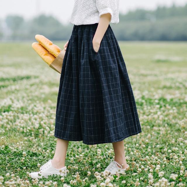 c08495888 Retro plaid pocket Elastic waist pocket loose A-Line skirt mori girl 2018  spring