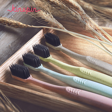 KINEPIN 2pcs Creative Adult Soft Toothbrush Portable Wheat Straw Tooth Cleaning Charcoal Bristle Brush with Travel Storage Case