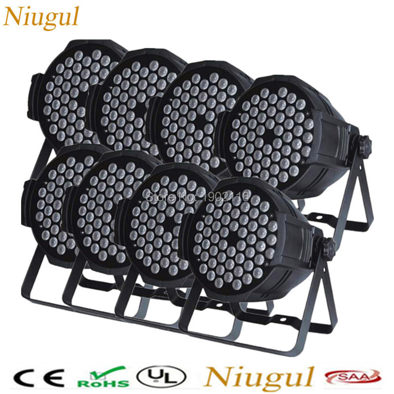купить 8pcs/lot Hot DMX Led Par 54X3W RGBW Stage Par Light Wash Dimming Strobe Lighting Effect Lights dj disco club light good quality дешево