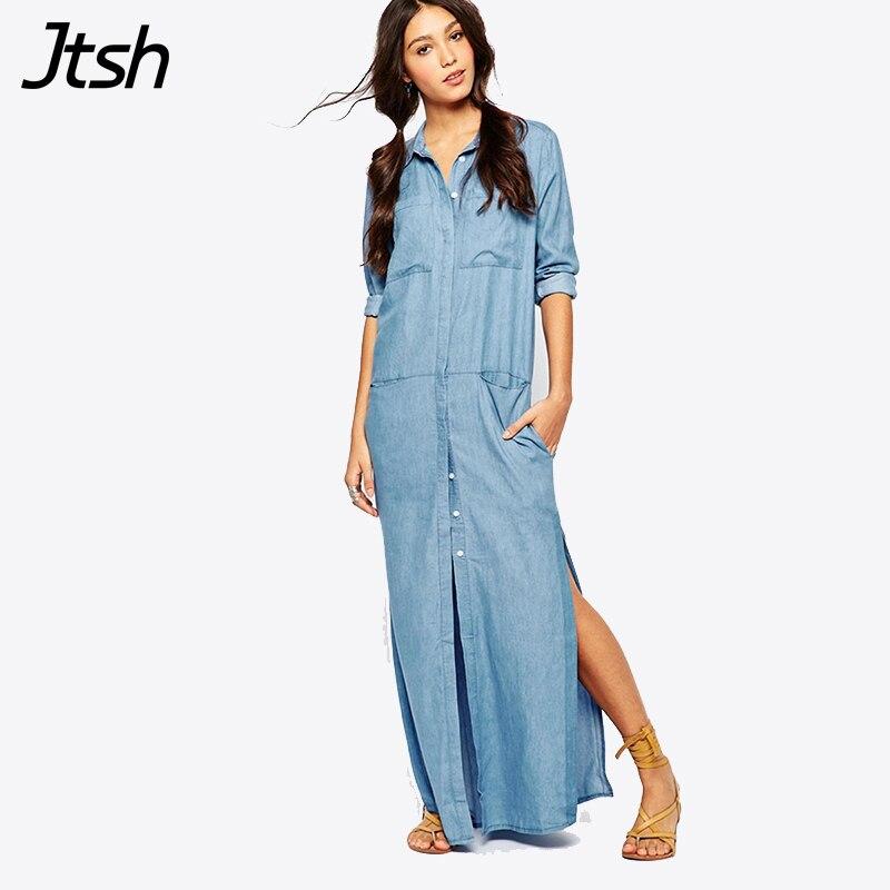 2017 Fashion Long Sleeve Maxi Dress Vestido Jeans Dress Plus Size