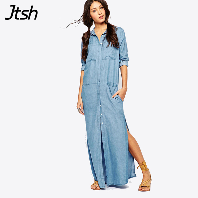 2018 Fashion Long Sleeve Maxi Dress Vestido Jeans Dress Plus Size