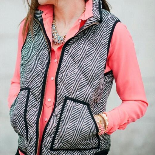 fashion brand new women single herringbone cotton Herringbone Vest Spring autumn female outwear waistcoat vestidos