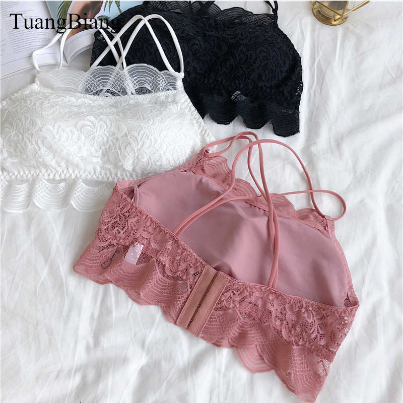 TuangBiang 2018 Sexy Patchwork Tube Top Vrouwen Crop Tops Roze Bandeau Lace Wrap Tank Top Herfst Cross strap Naadloze Tees shirts