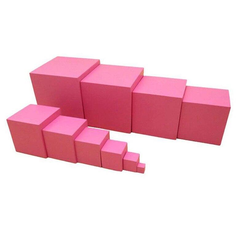 高品質の木製モンテッソーリ数学おもちゃピンクタワー無垢材キューブ0.7-7センチ早期幼児教育子供の日ギフトウィリージープ1 10