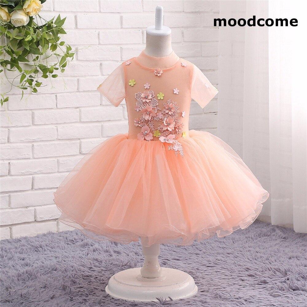 2018 New Cheap Flower Girl Dresses Knee Length High Neck Tulle