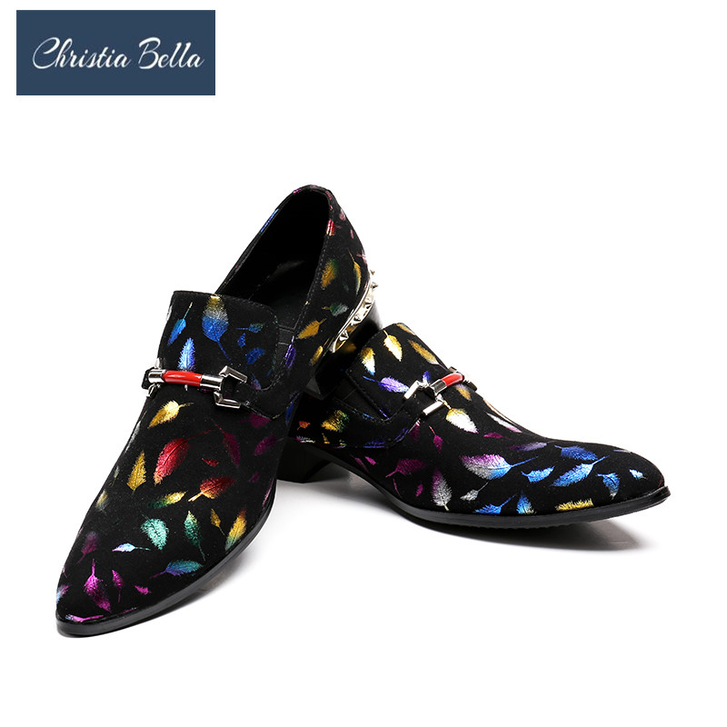 Christia Bella Men Dress Shoes Genuine Leather Luxury Fashion Wedding Business Shoes Pointed Toe Formal Shoes Colorful Men Flats