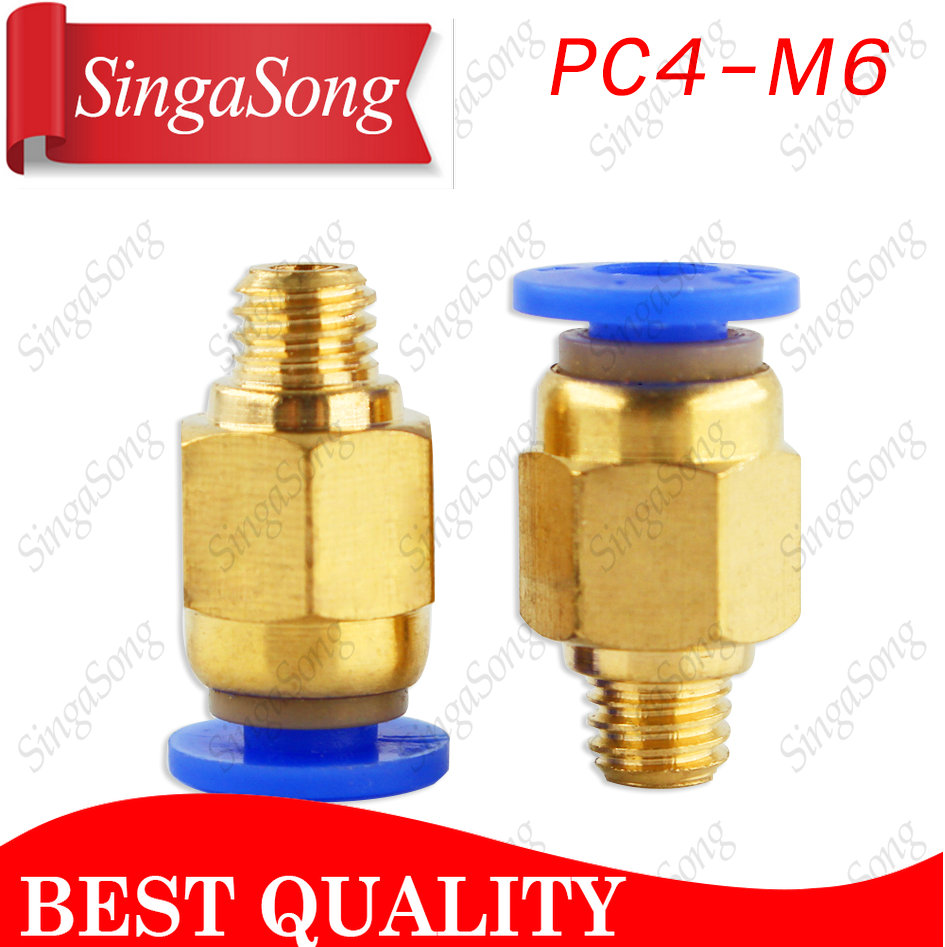 PC4-M6 Pneumatic Straight Connector Brass Part For MK8 OD 4mm 2mm Tube Filament M6 Feed Fitting Coupler for 3D Printers Parts diy 4mm hexagonal coupler connector for r c car bronze