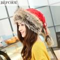 BEFORW Fashion Winter Hat Ladies Beanie Wool Hat Women Fur Cap Warm Plus Velvet Dual Use Hats For Thicken Knitting Women Caps