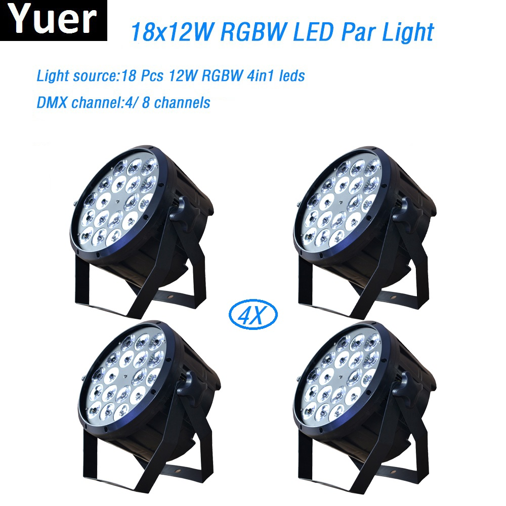 Здесь продается  4Pcs/Lot 18x12W RGBW 4in1 led par light DMX Stage Lights Professional Flat Par Can for Party KTV Disco DJ professional lighting  Свет и освещение
