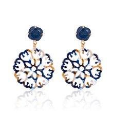 Colorful Round Hollow Flower Acrylic Earrings 2019 New Creative Bohemian Geometric Big Dangle Earring for Women Fasion Jewellery