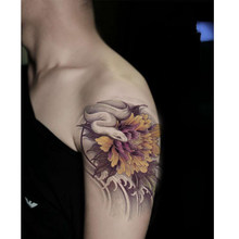 Waterproof Temporary Large Tattoo Sleeve Stickers Sexy Flowers Snake Design Body Art Makeup Styling Tools(China)