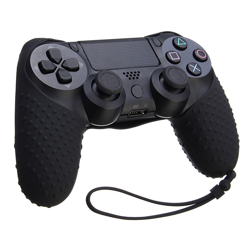 1pc Durable Silicone Rubber Skin Non-slip Grip Cover Case Gamepad Protection Skin for Playstation 4 For Dualshock 4 With Lanyard