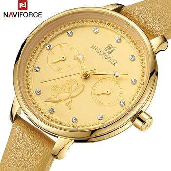 NAVIFORCE Women Watches Top Brand Luxury 2019 Wristwatch Female Clock Leather Lady Quartz-watch Montre Femme Relogio Feminino