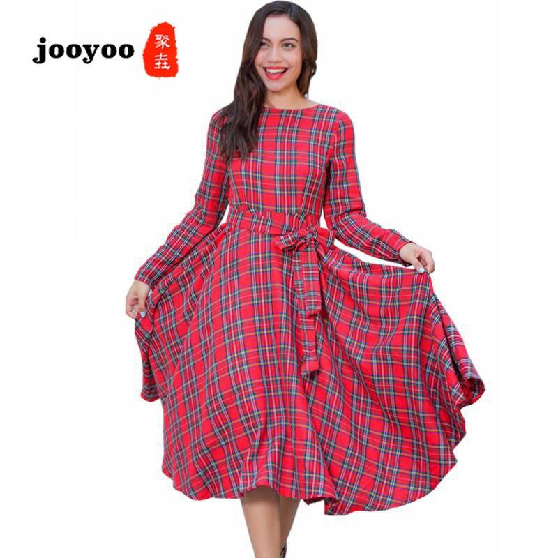 Nouvelle mode été chaud classique Plaid à manches longues robe grand Swing dans les longues vacances vacances Simple mode de haute qualité