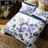 Luxury 100% Cotton 4pcs Bedding Sets White 3D Flower Digital Printed Double Bed Linens 100S Home Textiles Queen King Size