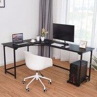 Giantex Г образный угловой компьютерный стол портативных ПК учебный стол рабочей станции, офисные черный коммерческих мебель HW56370BK