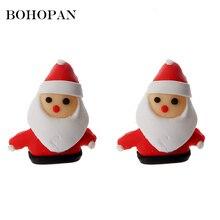 Cute Santa Claus Stud Earrings for Women Cartoon Polymer Clay snowman Dangle Christmas Earring Child Jewelry aretes de mujer santa claus enamel christmas dangle earrings
