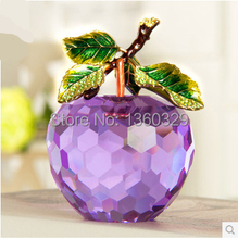 Home Decoration Accessories Crystal Apple Christmas Birthday Gift Lustre Crystal Music Box Crafts Ornaments Wedding Decoration