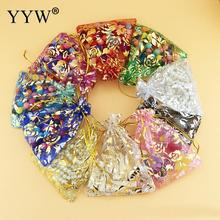 YYW 100pcs Drawable Organza Bags Mix Color Wedding Christmas Gift Bags Candy Jewelry Packaging Organza Bags 2017