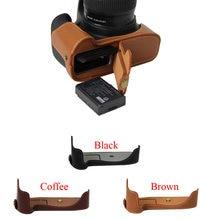Nova bolsa em Couro Genuíno Meia caixa Da Câmera Para Canon 1100D 1200D 1300D Fundo de Couro Real Saco De Vídeo Tampa da bateria Aberta diretamente