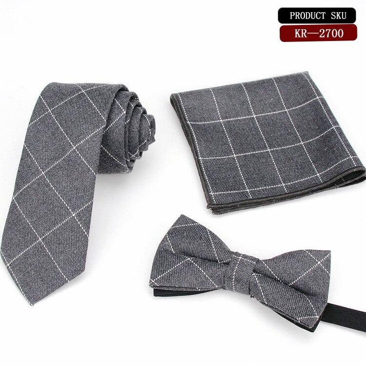 AnpassungsfäHig Mode Herren Grau Plaid Krawatte Baumwolle 6 Cm Formalen Ebene Farbe Krawatte Hanky Bowtie Set Schmale Schlanke Mans Krawatte Bekleidung Zubehör