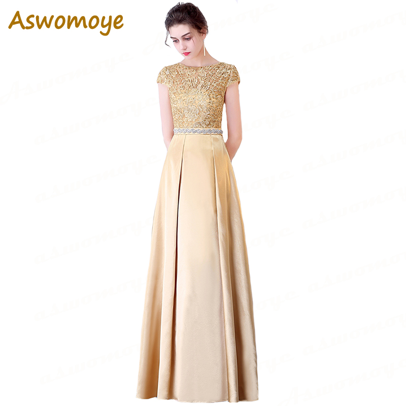 Aswomoye Short Sleeve   Evening     Dress   Appliques Embroidery Party   Dresses   Illusion O-Neck A-Line Prom   Dress   Satin robe de soiree