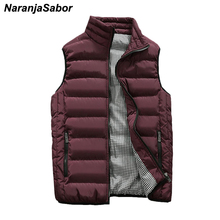NaranjaSabor осень Для мужчин жилеты 5XL Для мужчин мода стоять воротник жилет мужской Куртки без рукавов Повседневное Slim Fit ватным тампоном пальто