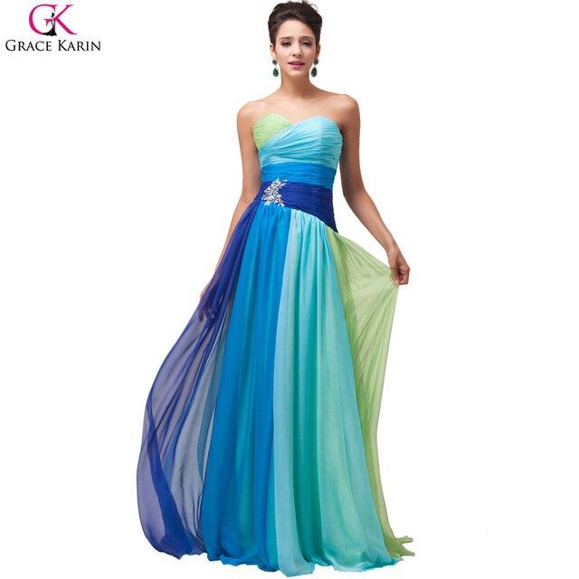 57f2401a34c2 Robe De Soiree Longue Grace Karin Evening Dresses Ombre Chiffon Strapless  Long Formal Gowns Elegant Party Dress Evening Dresses