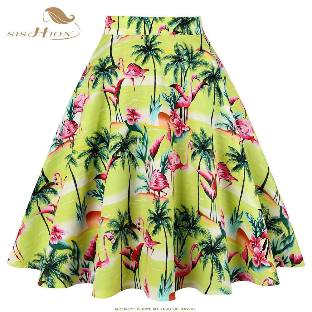 SISHION Swing Retro Vintage Women Skirt VD0020 50s Inspired Cotton High Waist Animal Flamingo Print Floral Summer Skirts Womens