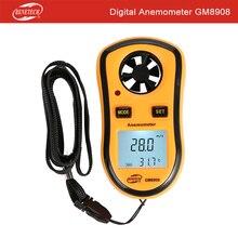 BENETECH мини Карманный анемометр цифровой Ручной измеритель скорости ветра весы Анемометр Термометр GM8908