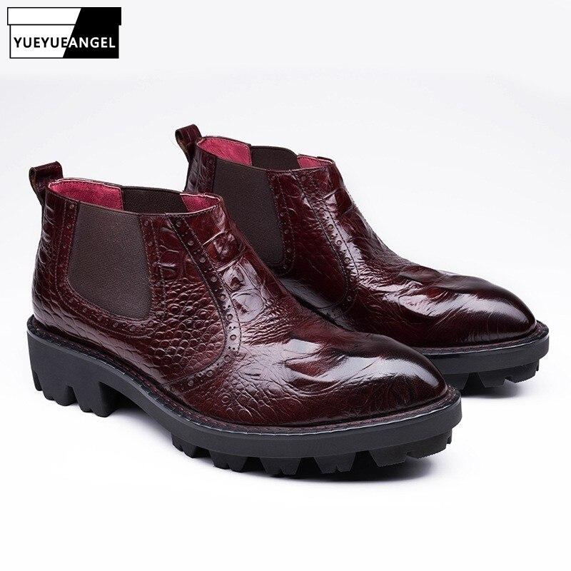 Bout pointu En Cuir Véritable Chelsea Bottes Hommes D'hiver De Mode Crocodile Motif Martin Bottes Hommes D'affaires Cheville Chaussures Erkek Bot