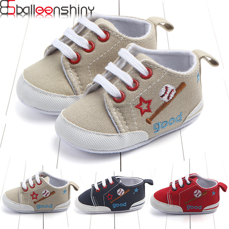 BalleenShiny Soft Newborn Baby Canvas Sneaker Sport Shoes For Girls Boys Infant Toddler Casual Bottom Anti-slip First Walkers