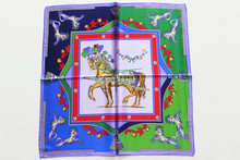 New fashion women  small Square silk  scarf, Material: silk charmeuse fabric, size:52x52,Thickness 12mm horse green purple